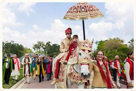 Baraat riding horse or ghodi at TPC Sawgrass, Ponte Vedra Beach, FL